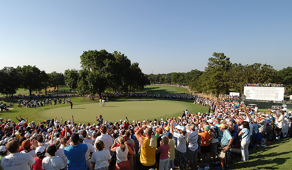 As the final putt went into the hole on Sunday, the crowd at Southern Hills roared for Woods.