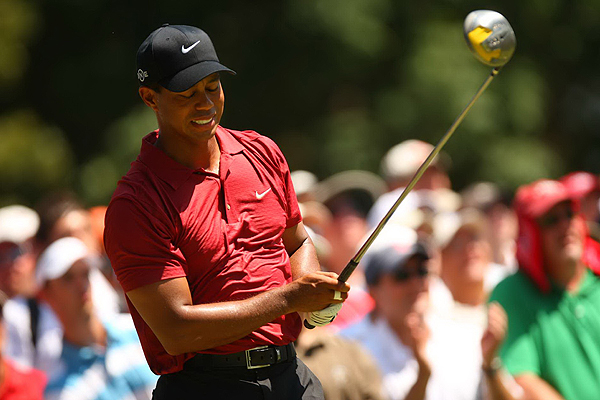 Tiger Woods was disappointed to miss the fairway on both the 2nd and 3rd holes.