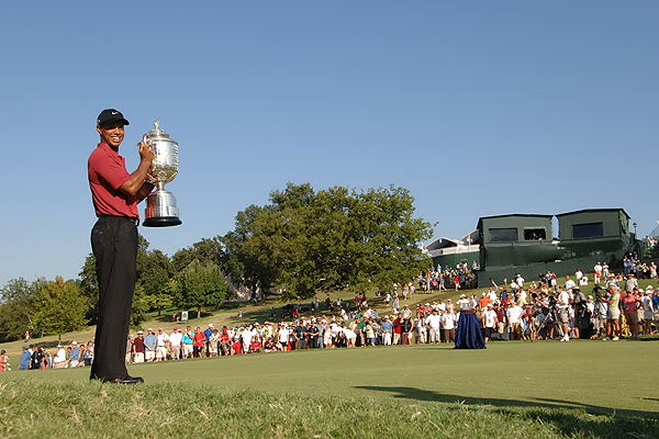 July 2007: Woods ruptures the anterior cruciate ligament in his left knee after taking a misstep while running on a golf course. He wins five of the last six tournaments he plays, including the PGA Championship (pictured).