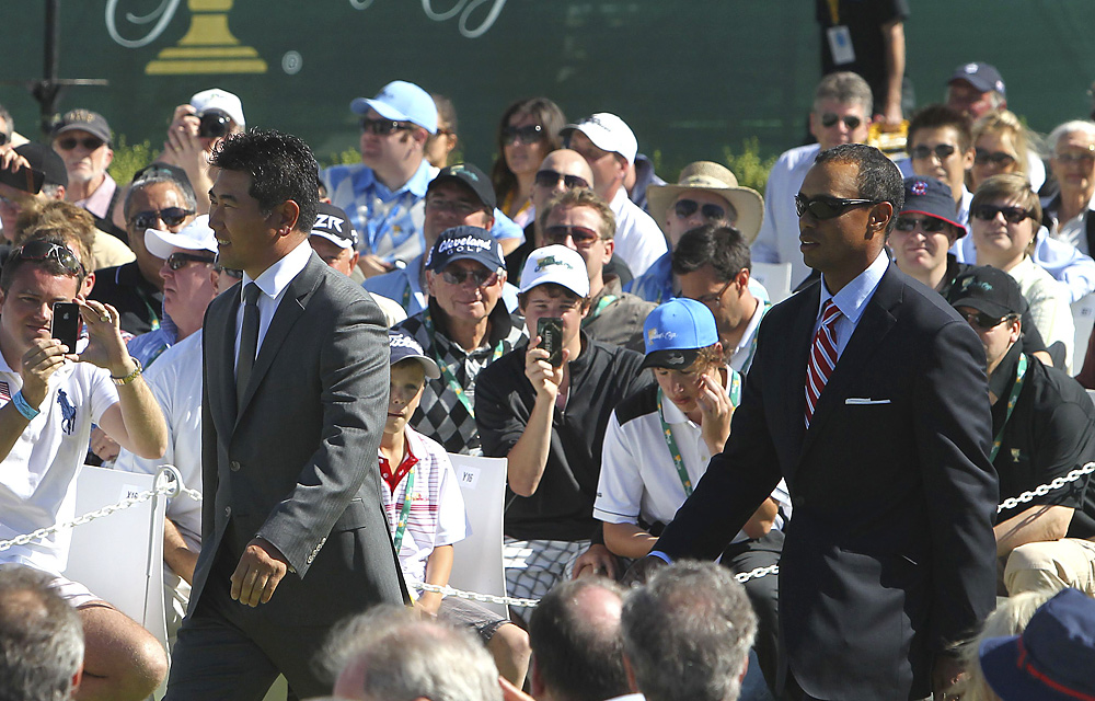 Tiger Woods and Y.E. Yang were introduced together.