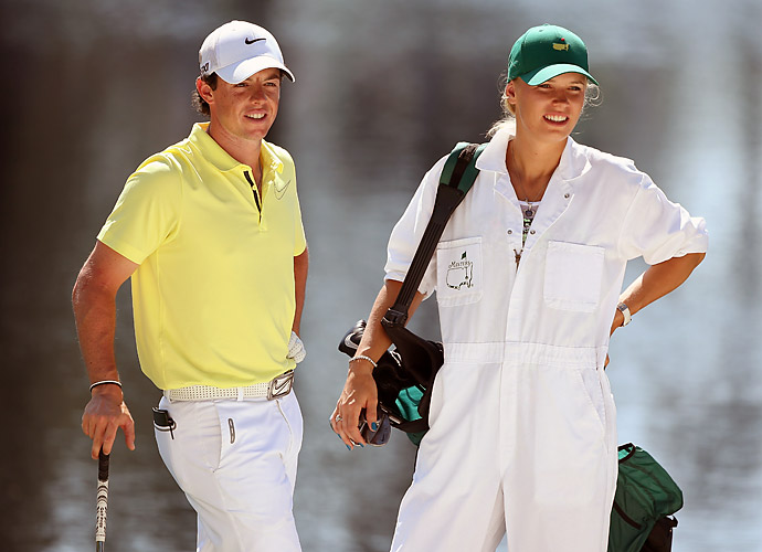 It was all smiles at the Masters Par-3 contest at Augusta National, though, where Wozniacki grabbed the bag and caddied for McIlroy.