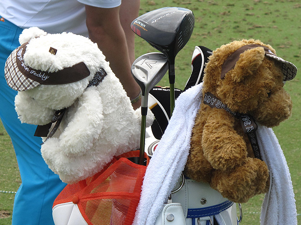 the winner of last season's PGA Championship, has two teddy bears on top of his TaylorMade clubs.