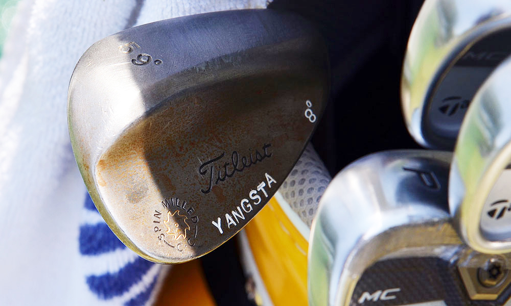 Y.E. Yang flashes some subtle style on his Titleist Vokey Design Spin Milled lob wedge.