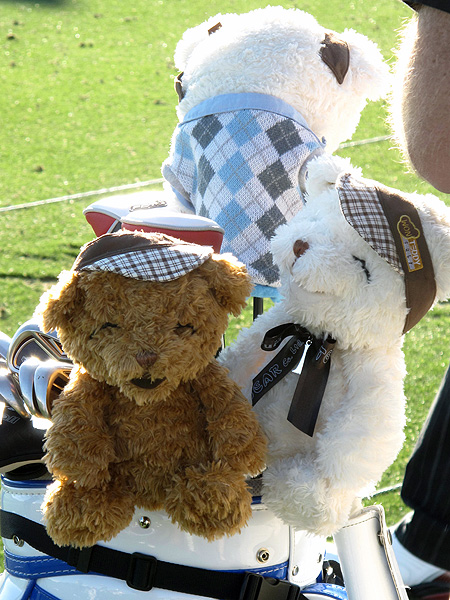 Y.E. Yang has not one, not two, but three teddy bear head covers over his TaylorMade woods.