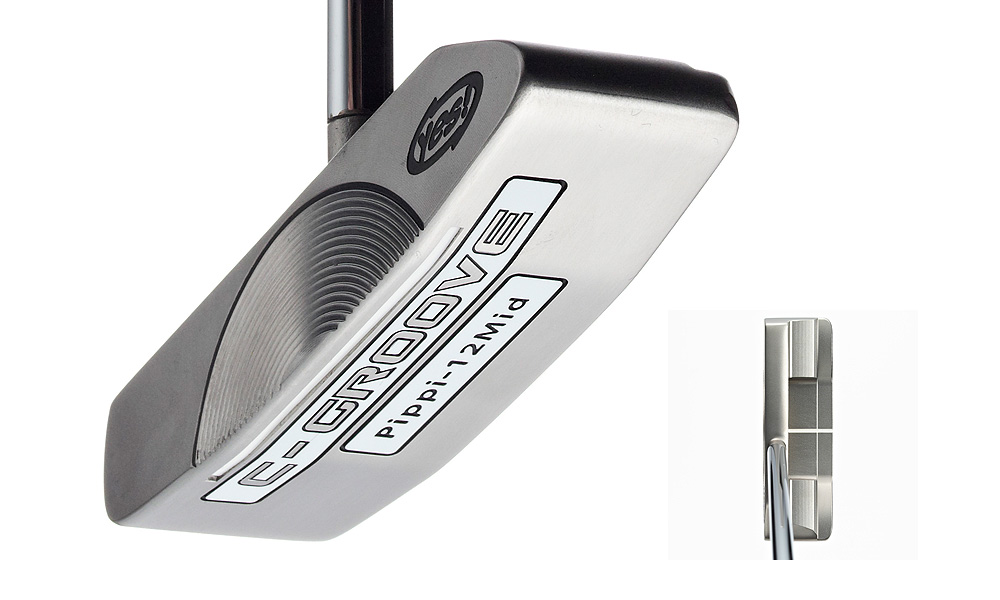 Yes Pippi 12 Mid Belly Putter                           Price: $200                           Lengths: Standard is 43 inches. Can be custom fit from 39 to 46 inches.                            Insight: Center-shafted blade has slight toe hang and no offset. C-Grooves grip the ball so putts roll end over end.                           Fitting tool: It's an appendage to the standard-length tool. Remove the grip and replace with a belly grip that's 10 inches longer. You can fit for length and lie.