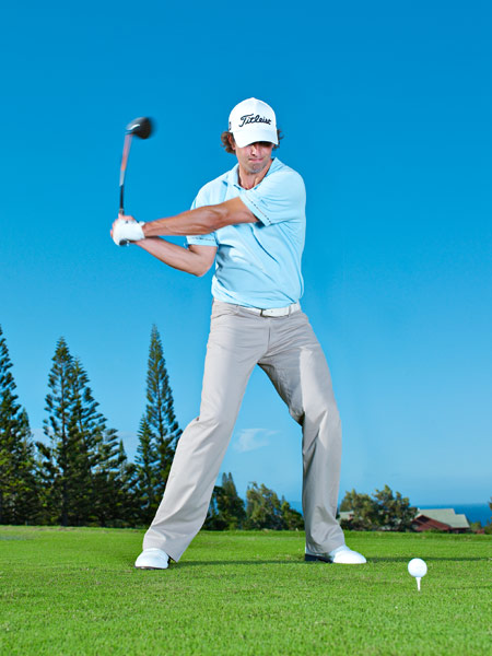 "KEY 4 IMPACT                           Lock Down Your Core                                                      You won't consistently drive the ball far unless you can maintain your posture throughout your swing. The most common mistake people make is to straighten up when they swing down. You create effortless power with the clubhead speed you generate when you unwind the coil you created in your backswing around your spine, and to do this, you need to stay in the same posture you had at address. The focus of your whole swing is to turn around your spine. Lots of people get confused when golf instructors start talking about ""spine angle."" What it means is that your core needs to remain stable throughout your swing. If you stay in your posture, you'll maintain your angles and let your arms swing freely, which will allow you to unleash a powerful strike on the ball."