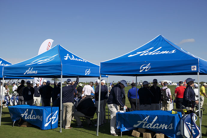 Adams Golf sets up camp at the Orange County National driving range in Winter Garden, Fla., for Demo Day on Tuesday.