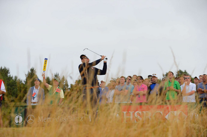 Adam Scott briefly held the lead on Sunday, but he made four bogeys in a row on the back nine to finish tied for third.