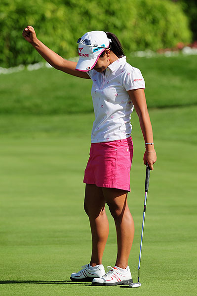 Miyazato birdied the first playoff hole to beat Sophie Gustafson.