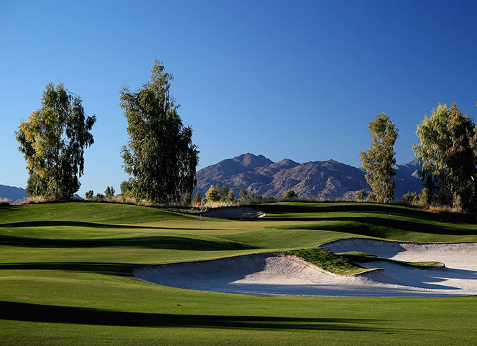 11. Ak-Chin Southern Dunes, Maricopa, Ariz.; golfsoutherndunes.com; $29-$189                           A private men's club upon its creation in 2002, this Schmidt-Curley design, with Fred Couples consulting, is now an amenity of Harrah's Ak-Chin Casino just down the road in Maricopa, some 25 minutes south of the Phoenix Sky Harbor Airport. This muscular 7,500-yard design features sprawling bunkers, fescue-framed fairways and nary a home or a weak hole.