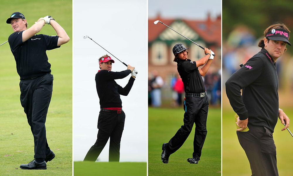 Knights of Lytham                           Many players took the Gary Player all-black route, especially in the early rounds. Perhaps they were expecting the much-forecasted heavy rains. (Black looks sleek and imposing, even in a downpour, and one doesn't have to worry about absorbing the sun.) From left, Ernie Els, Ian Poulter, Rickie Fowler, and Bubba Watson.