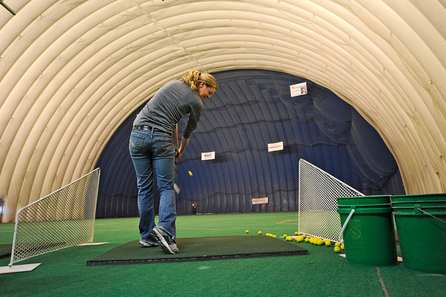 Anderson practicing at the Sports Bubble.
