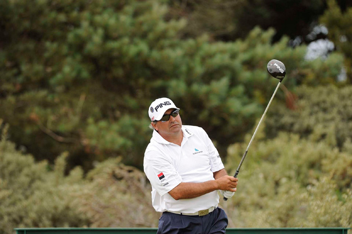 Angel Cabrera tied for 11th after a 74.