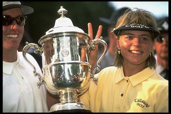 Annika Sorenstam with then-fiance David Esch after winning the 1996 U.S. Open at Oakland Hills.