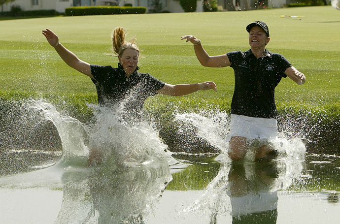Sorenstam took her sister, Charlotta, along for the ride in 2005.
