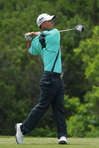 With a double bogey on 18, Anthony Kim shot 69 on Thursday.