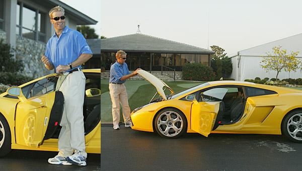 Stuart Appleby                       Stuart Appleby cruises around in this yellow Lamborghini.
