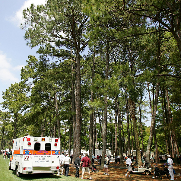 A marshal was injured by a falling tree limb. He was taken to Hilton Head Regional Medical Center.