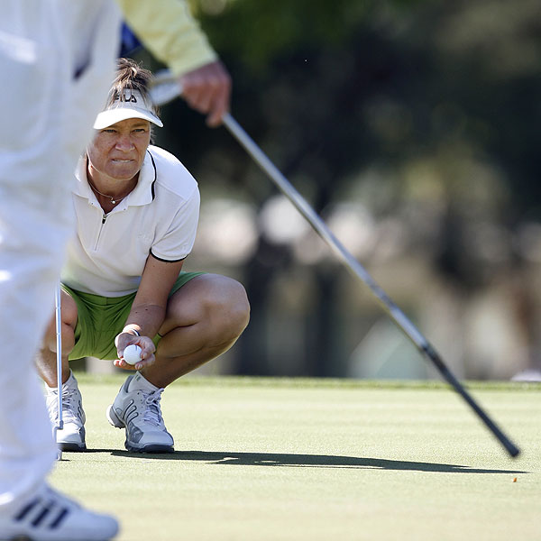 Catriona Matthew finished tied for second at two under par, one shot behind Pressel.