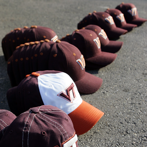 Virginia Tech hats were donated for PGA Tour players to wear during the third round of the Zurich Classic in New Orleans.