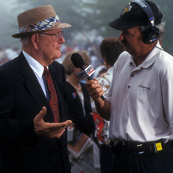 """Nelson with Gary McCord.                             """"Everyone was surprised when I quit. Even Louise could hardly believe it. But I knew this about me: I wanted new challenges, new experiences. I wanted the ranch. I started writing for the newspaper. (Later) I did radio and TV.""""                                                          — From Byron Nelson: His Last Interview"""