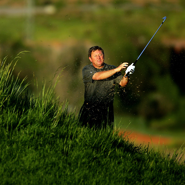 Former Ryder Cup captain Ian Woosnam missed the fairway on No. 6 and made bogey. He finished with a three-over 75.