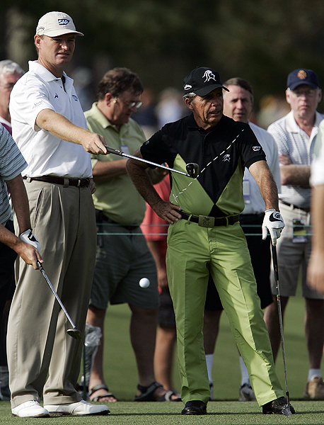 Gary Player, who will start his 50th Masters on Thursday, played the second practice round today with fellow South African, Ernie Els.