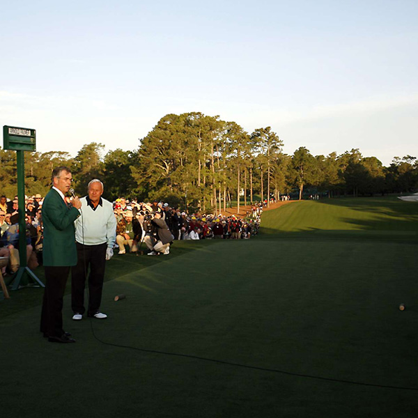 Augusta National Chairman Billy Payne introduced Palmer, a four-time Masters champion.
