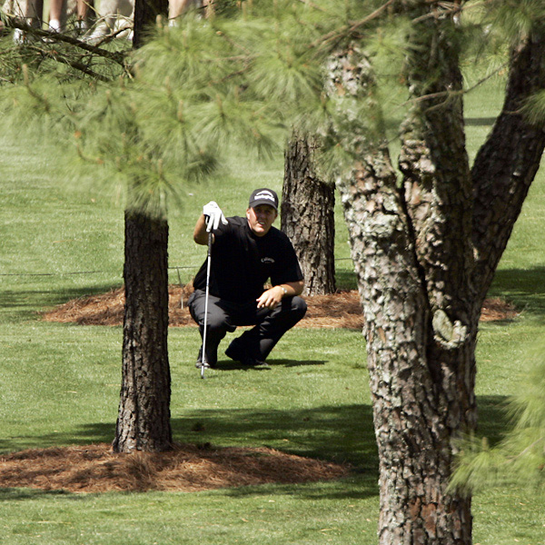 Mickelson played several recovery shots during his opening round.