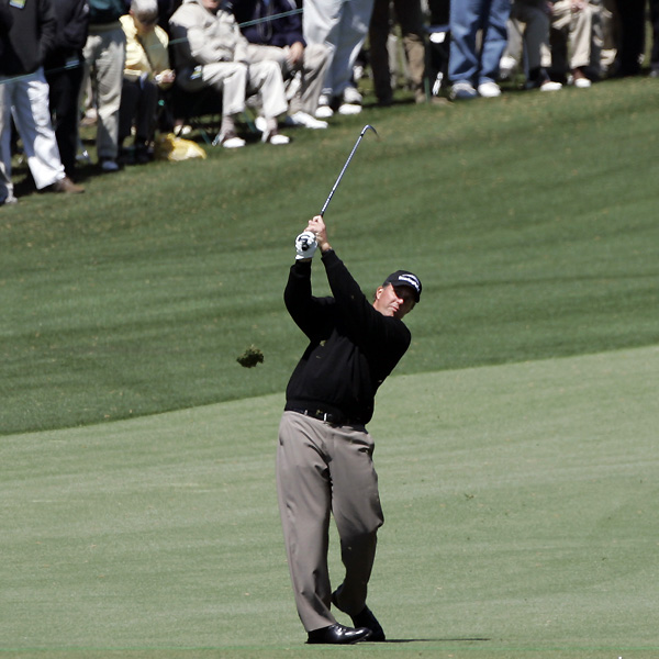 Phil Mickelson nearly holed his second shot from the fairway on the 18th. He settled for a par and a one-over 73.