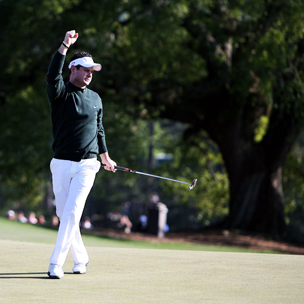 Rory Sabbatini celebrated after sinking a 60-foot putt for eagle on No. 8. He finished tied for second with Retief Goosen and Tiger Woods.