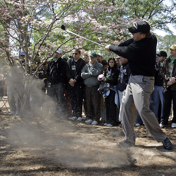 In three rounds, Mickelson has played several recovery shots from the trees.