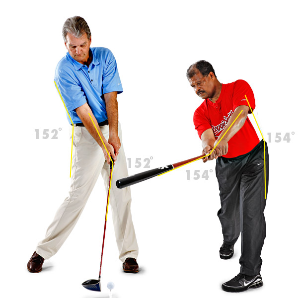 Impact                           At the moment of truth — whether it's hitting a clutch tee shot or driving in the winning run — the angle is maintained, and again appears in several spots, but only if you nail two other critical factors: grip size and stance width.