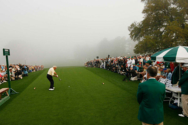 Arnie's first shot went straight down the middle of the fairway, about 200 yards.
