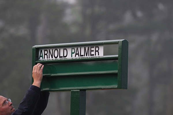Thursday Morning at the Masters                       The tournament began at Augusta early Thursday morning with Arnold Palmer's ceremonial first tee shot.