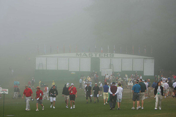 The early morning was clouded in fog as patrons made their way on to the course.