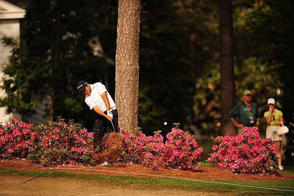 Andres Romero, who found himself in the azalea bushes, double bogeyed the par-4 tenth hole. He is at even par.
