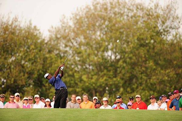 Vijay Singh bogeyed his first hole of the day. He is at even par.