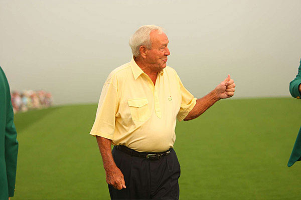 Palmer was pleased with his drive, giving the crowd a thumbs up as he left the tee box.