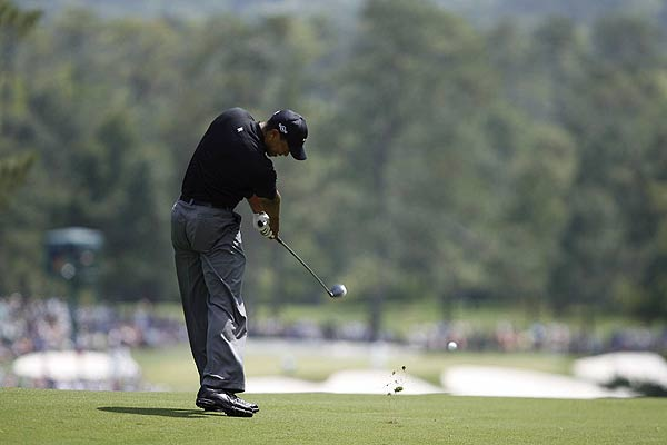 A birdie on the 17th hole helped to get Woods back under par.