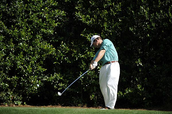 Two-time Masters champion Tom Watson double-bogeyed the par-4 third hole. He came back with three birdies on the back nine to finish at six over par.