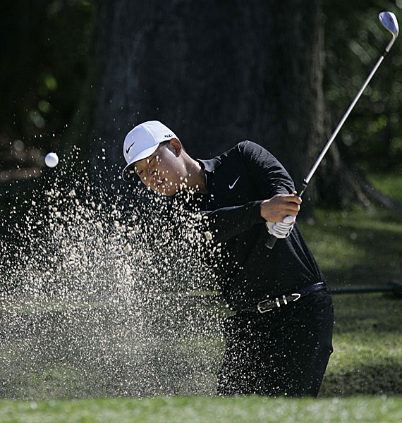 Anthony Kim shot a second 67 to reach eight under. He is alone in third place.