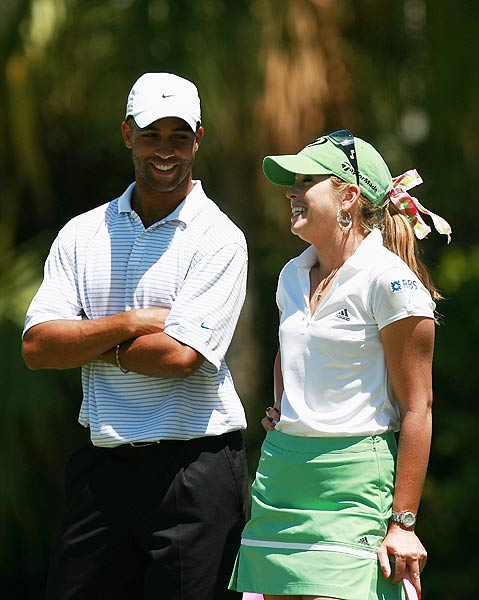 First Round of the Stanford International Pro-Am                       Tennis star James Blake was paired with Paula Creamer. Because of a bet he lost to Creamer, he was forced to carry his clubs in a pink bag.