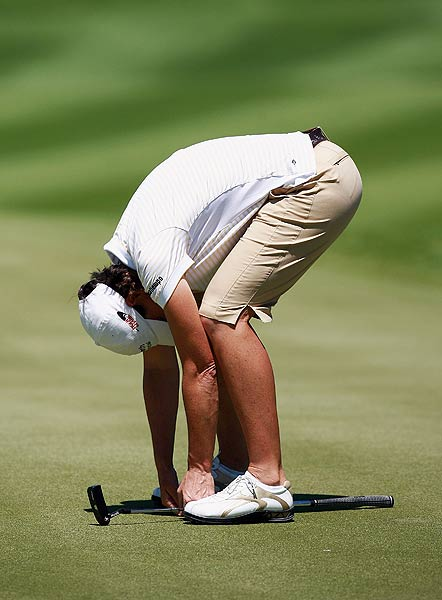 Juli Inkster, who missed a putt to bogey the 12th hole, finished the first round at one under par.