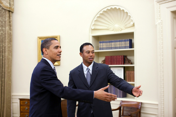 Woods and Obama also met in January during an inauguration ceremony.More Photo Galleries of Tiger Woods                        • Tiger and Elin's New Baby                       • Tiger's Life in Pictures                       • Tiger's Swing Sequence                       • Tiger on the Cover of Sports Illustrated