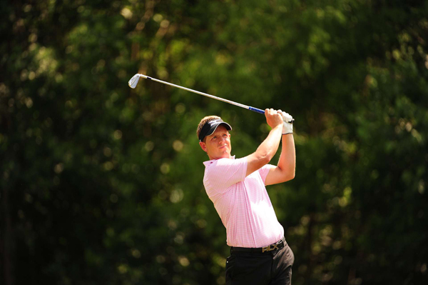 Luke Donald is five strokes back with one round left.