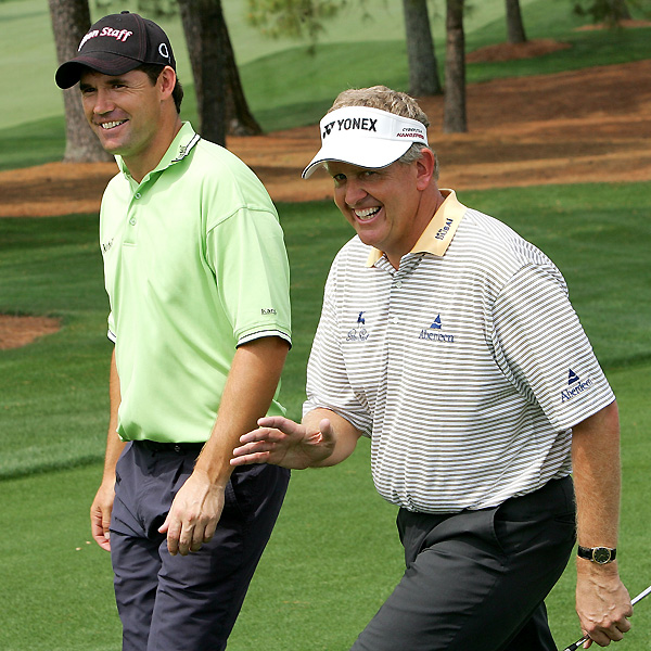 Colin Montgomerie (right) and Padraig Harrington will try to end Europe's drought in the majors. Paul Lawrie was the last European to win a major when he captured the 1999 British Open.