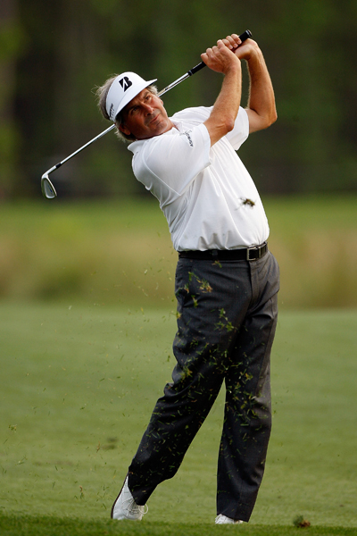 Fred Couples was 3-under through 10 holes, one stroke off the lead.