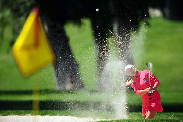 Natalie Gulbis ended her day with a birdie, but she made three bogeys for a 74.