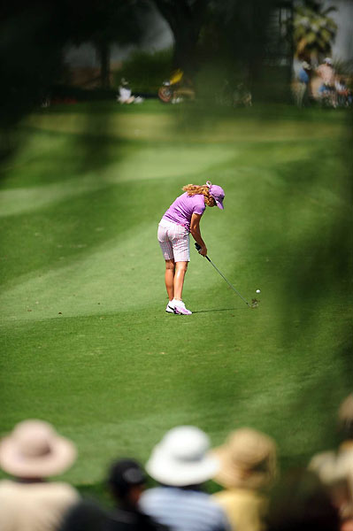 Paula Creamer made bogeys on 16 and 17 for a 73.